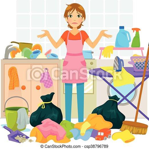 Viel Hausarbeit Frau Junger überwältigt