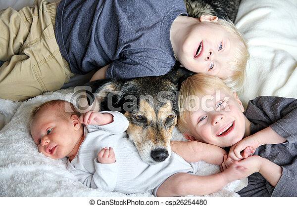 Haustier Hund Drei Bett Kuscheln Junge Kinder Glucklich Dog
