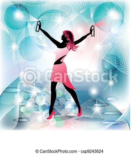hauswirtschafterin, frau, silhouette, bewegung, sprühen - csp9243624