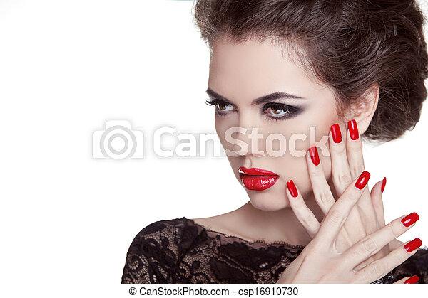 haut., femme, nails., lips., faire, isolé, charme, mode, portrait., fond, manucuré, blanc rouge - csp16910730