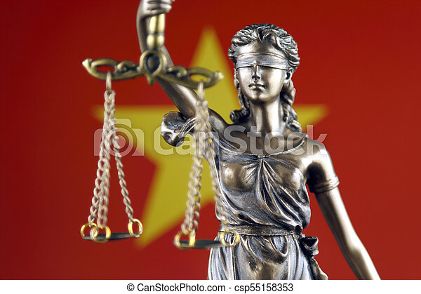 haut., justice, flag., symbole, vietnam, fin, droit & loi - csp55158353