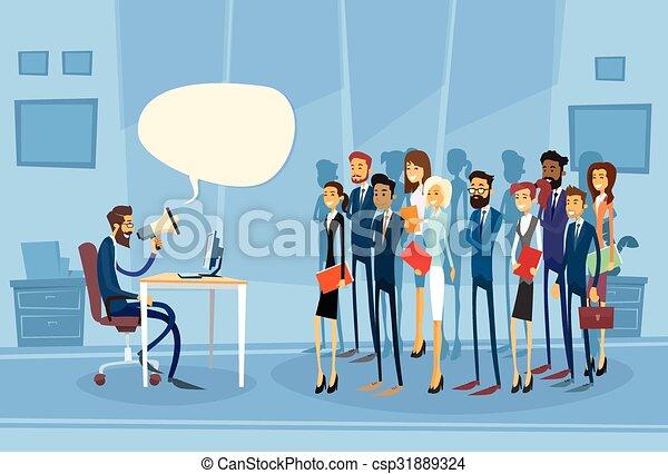 haut-parleur, collègues, porte voix, patron, homme affaires, prise - csp31889324