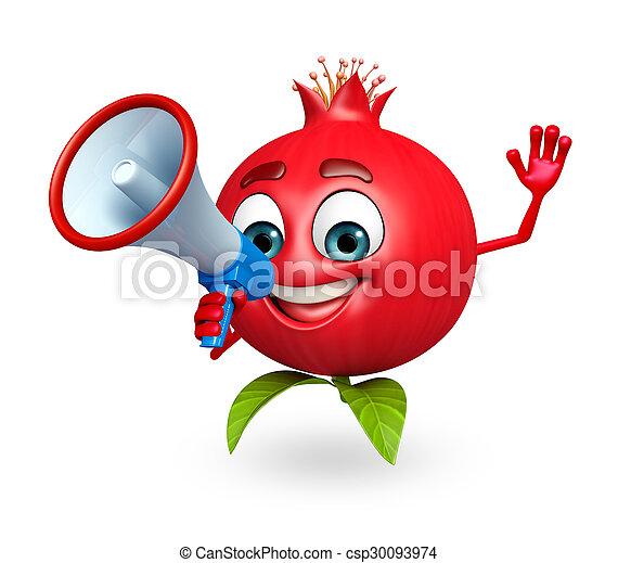 Haut parleur grenade fruit caract re dessin anim haut parleur rendu grenade caract re - Grenade fruit dessin ...