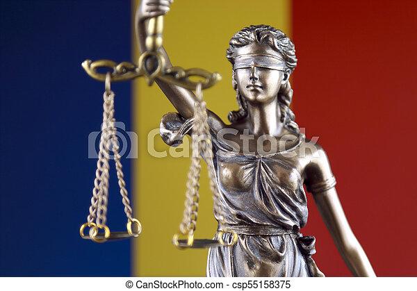 haut., roumanie, justice, flag., symbole, fin, droit & loi - csp55158375