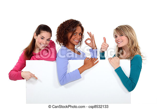 haut, signe, enthusiastically, tenue, vide, femmes - csp8532133