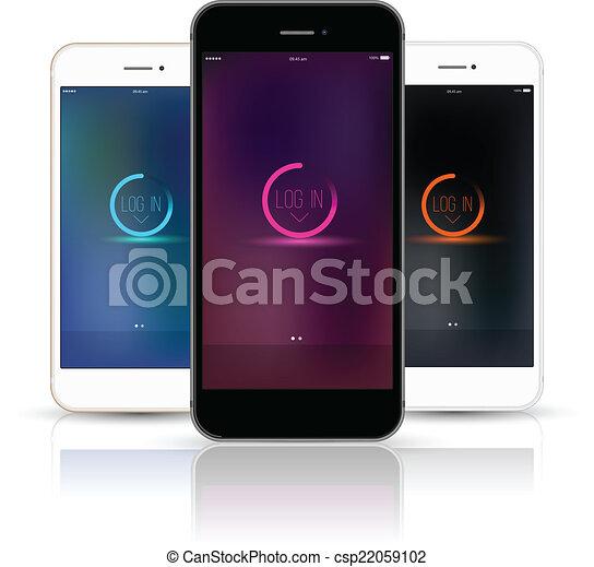 haut., smartphone, railler, vecteur - csp22059102