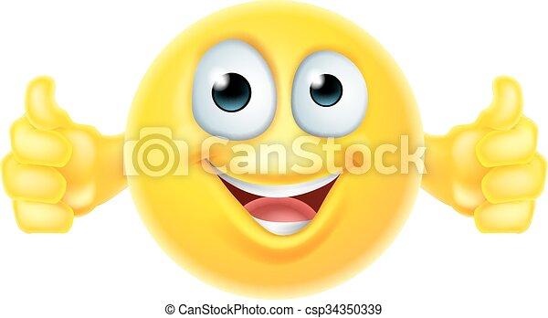 haut, smiley, pouces, emoji - csp34350339