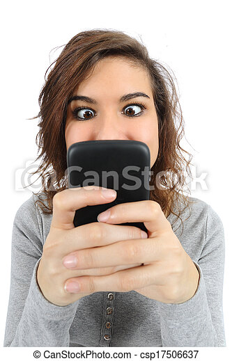haut, téléphone, adolescent, intoxiqué, fin, intelligent - csp17506637