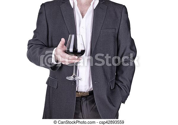 haut, verre, tenir fermeture, vin, homme