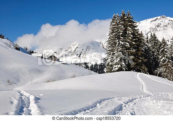 Haute-Savoie landscape in winter - csp18553720