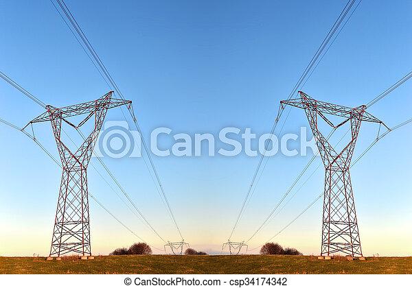 haute tension, pylônes - csp34174342