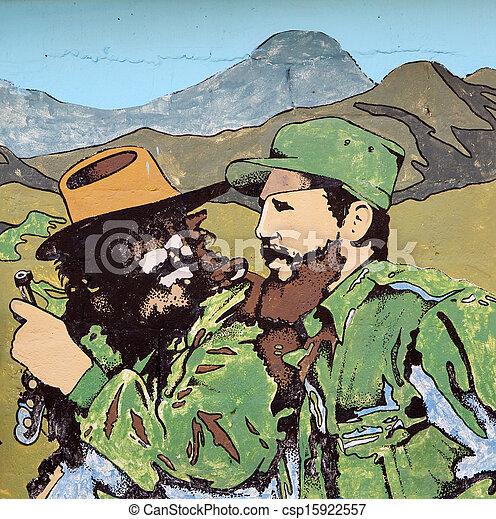 """HAVANA, CUBA-MAY 14: The propaganda poster """"Fidel Castro and Che - csp15922557"""