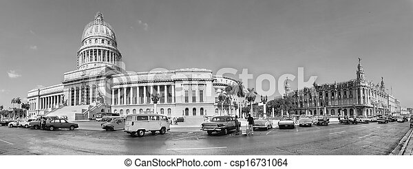 HAVANA, CUBA-MAY 14:Vintage cars near the Capitol on May 14,2013 in Havana.These old cars,the only ones that could be bought until last year,are a famous sight on the streets of the city  - csp16731064