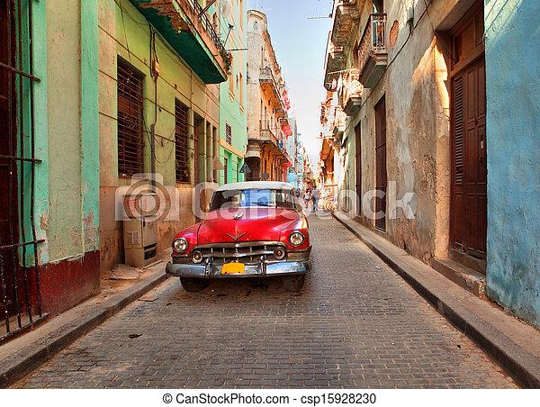 havanna, berozsdásodott, autó, 14:, színhely, american utca, cuba-may, öreg - csp15928230