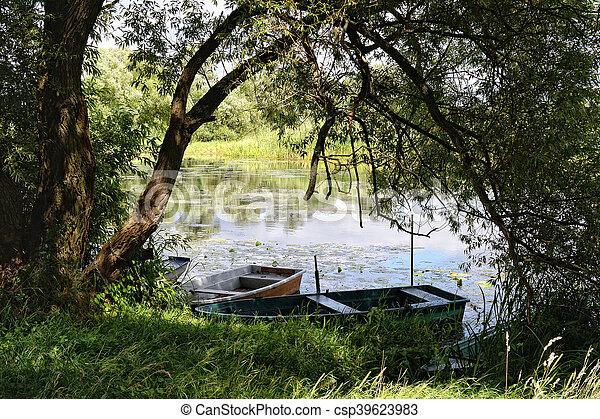 Havel river (Brandenburg, Germany). boats on shore - csp39623983