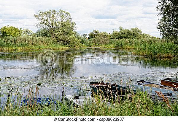 Havel river (Brandenburg, Germany). boats on shore - csp39623987