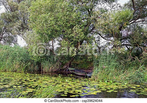 Havel river (Brandenburg, Germany). boats on shore - csp39624044