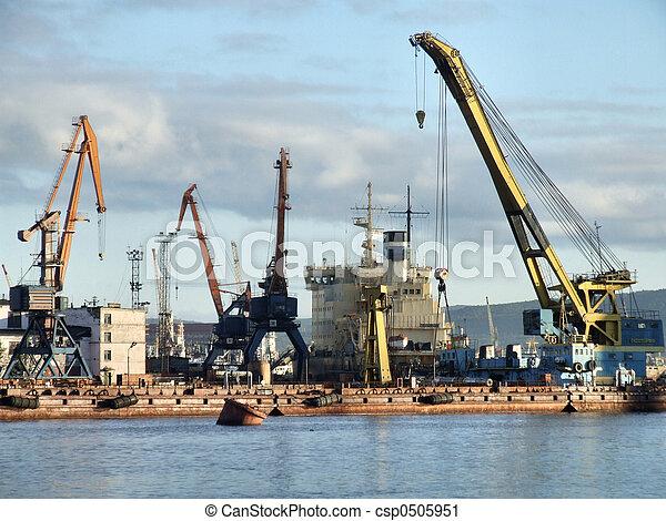 haven, lading, werkende, infrastructuur - csp0505951