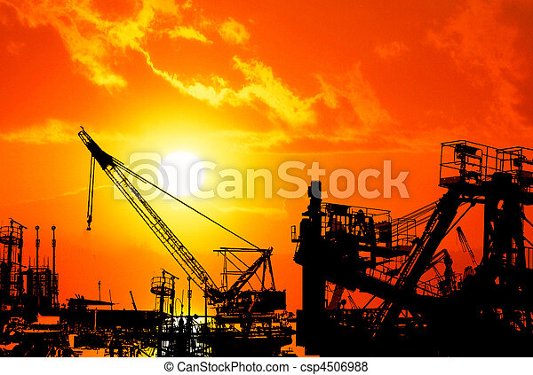 haven, op, industriebedrijven, ondergaande zon  - csp4506988