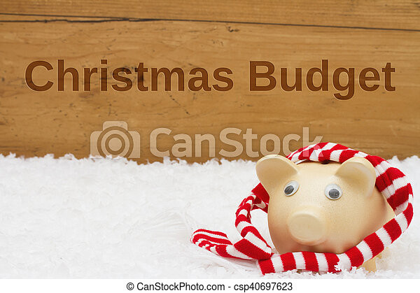 Having a Christmas Budget, Piggy bank with scarf on snow - csp40697623