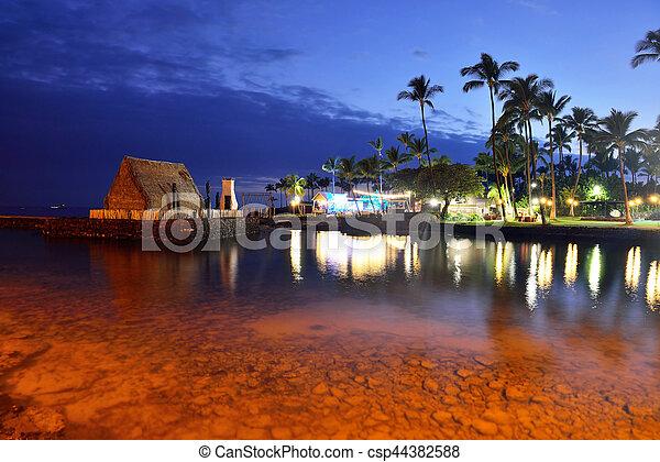 hawaï, coucher soleil, luau, après, partie plage - csp44382588