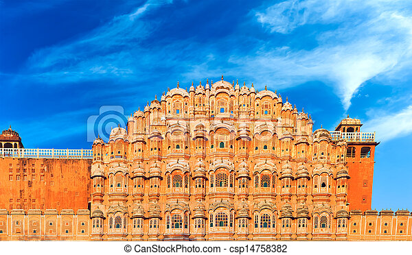 Hawa Mahal Palace in India, Rajasthan, Jaipur. Palace of Winds famous landmark - csp14758382