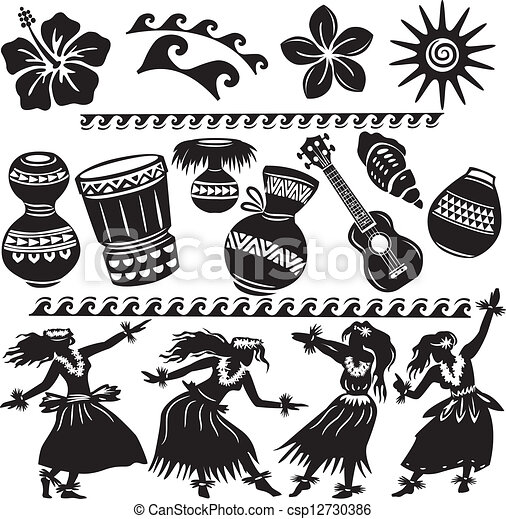 hawaien, instruments, musical, ensemble, danseurs - csp12730386