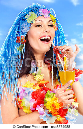Hawaii Frau Junger Kostüm Frau Juice Hawaii Getränk Kostüm