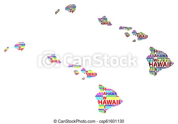 Sketch Hawaii United States Of America Letter Text Map Hawaii Map