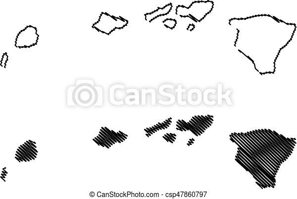 Hawaii Map Vector Illustration Scribble Sketch Hawaii
