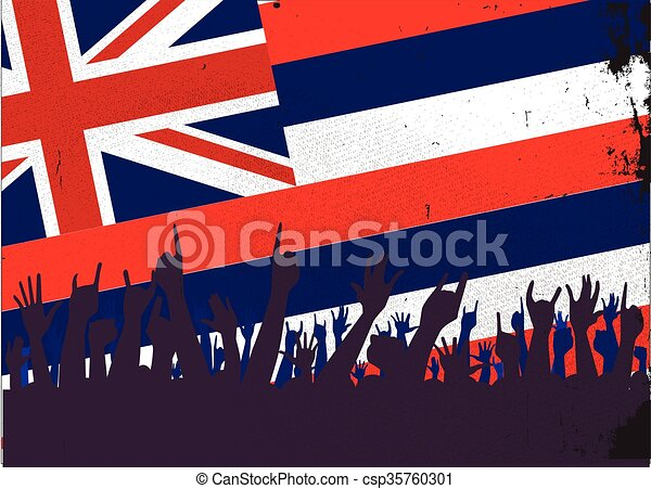 Hawaii State Flag with Audience - csp35760301