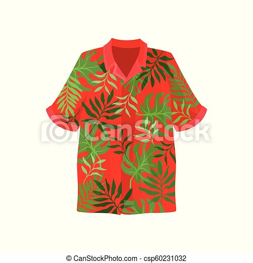 Hawaiian Aloha Shirt Vector Illustration On A White Background