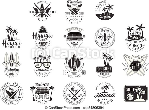hawaiian beach surfing vacation black and white sign design