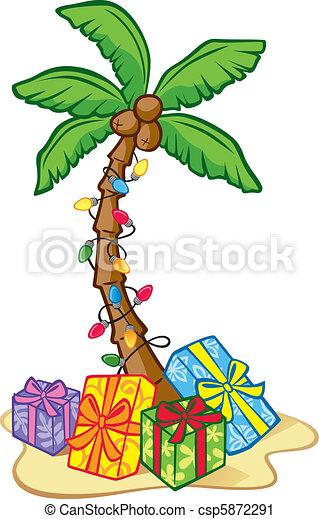Hawaiian Christmas Tree Illustration Of A Coconut Tree Decorated