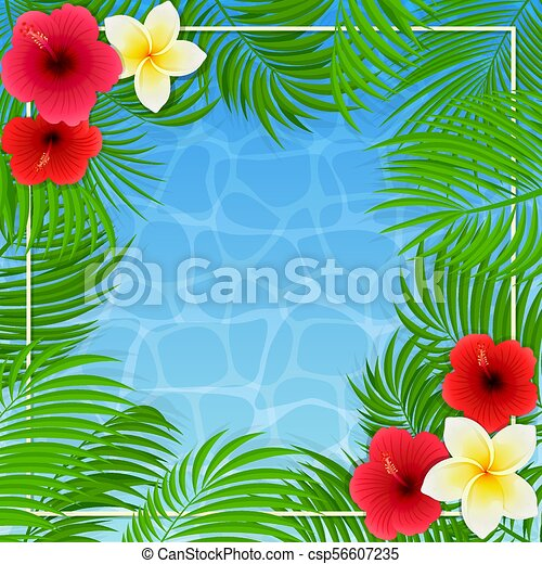 Hawaiian flowers and palm leaves on water background