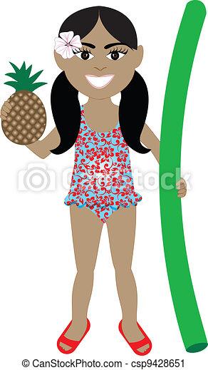 Hawaiian Girl Swimsuit - csp9428651