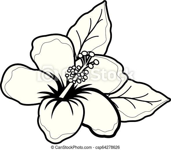 Vector Illustration Of A Cartoon Style Hawaiian Hibiscus Flower