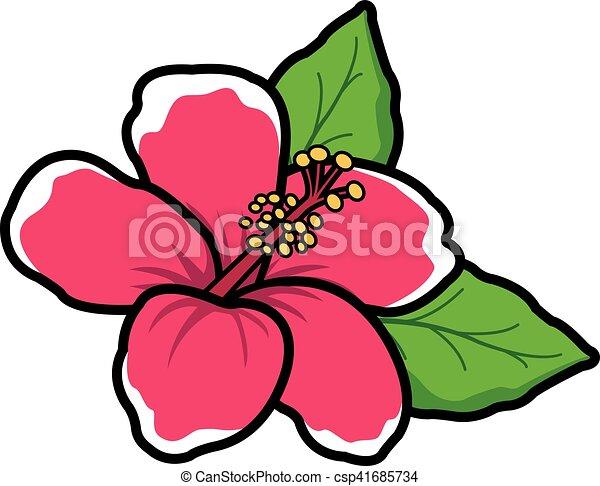 vector illustration of a cartoon style hawaiian hibiscus vectors rh canstockphoto com hibiscus cancer hibiscus cannabinus seeds