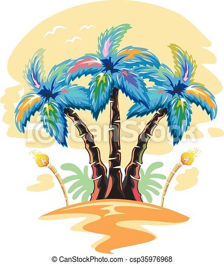 Hawaiian palm tree sun set. Illustration of hawaiian palm ...  Hawaiian Palm Tree Drawings