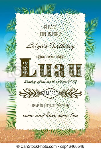 Hawaiian party luau feast poster flyer invitation eps vector hawaiian party luau feast poster flyer invitation csp46460546 stopboris Gallery