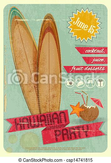 Hawaiian party retro card invitation to hawaiian party for surfers hawaiian party csp14741815 stopboris Choice Image