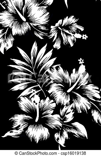 Hawaiian patterns black and white tone csp16019138
