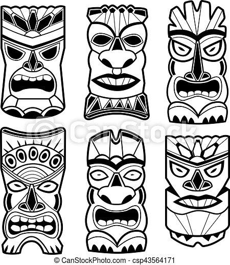 Hawaiian Tiki Statue Masks Black And White Set Vector Illustration