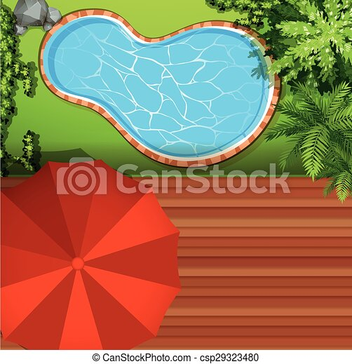 Hawkeye view of swimming pool illustration vector Search Clip Art