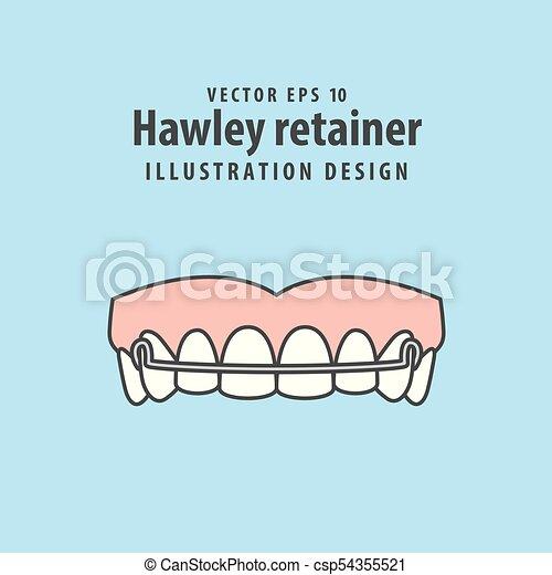 Hawley retainer illustration vector on blue background. Dental concept. - csp54355521