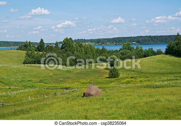 Haystacks on the summer meadow - csp38235064