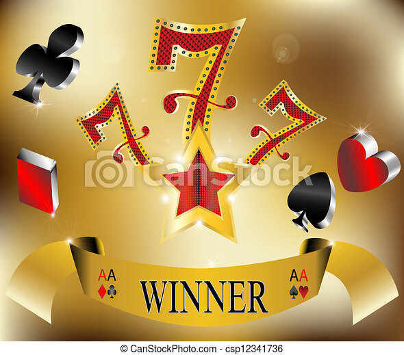 hazárdjáték, 777, nyertes, hét, szerencsés - csp12341736