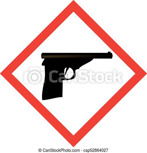 Hazard Sign With Gun Symbol