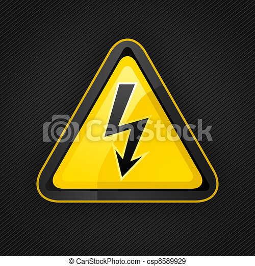 Hazard warning triangle high voltage sign on a metal surface - csp8589929