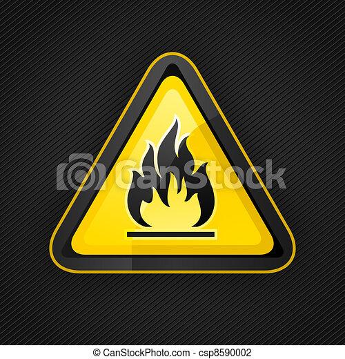 Hazard warning triangle highly flammable warning sign - csp8590002